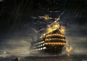 barca a vela disegnata, nave, mare, pioggia, notte, illuminazione 181026